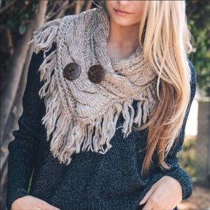 Accessories - Knit scarf wrap button fringe mocha